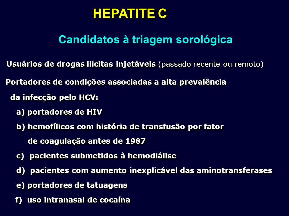 HEPATITE C Usuários de drogas ilícitas injetáveis (passado recente ou remoto) Usuários de drogas ilícitas injetáveis (passado recente ou remoto) Porta