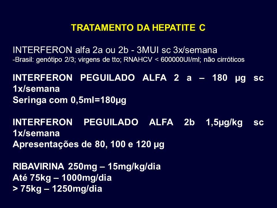 TRATAMENTO DA HEPATITE C INTERFERON alfa 2a ou 2b - 3MUI sc 3x/semana -Brasil: genótipo 2/3; virgens de tto; RNAHCV < 600000UI/ml; não cirróticos INTE