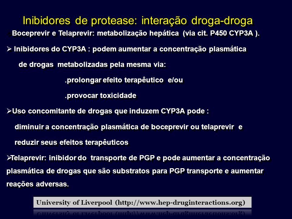 Inibidores de protease: interação droga-droga Boceprevir e Telaprevir: metabolização hepática (via cit. P450 CYP3A ). Inibidores do CYP3A : podem aume