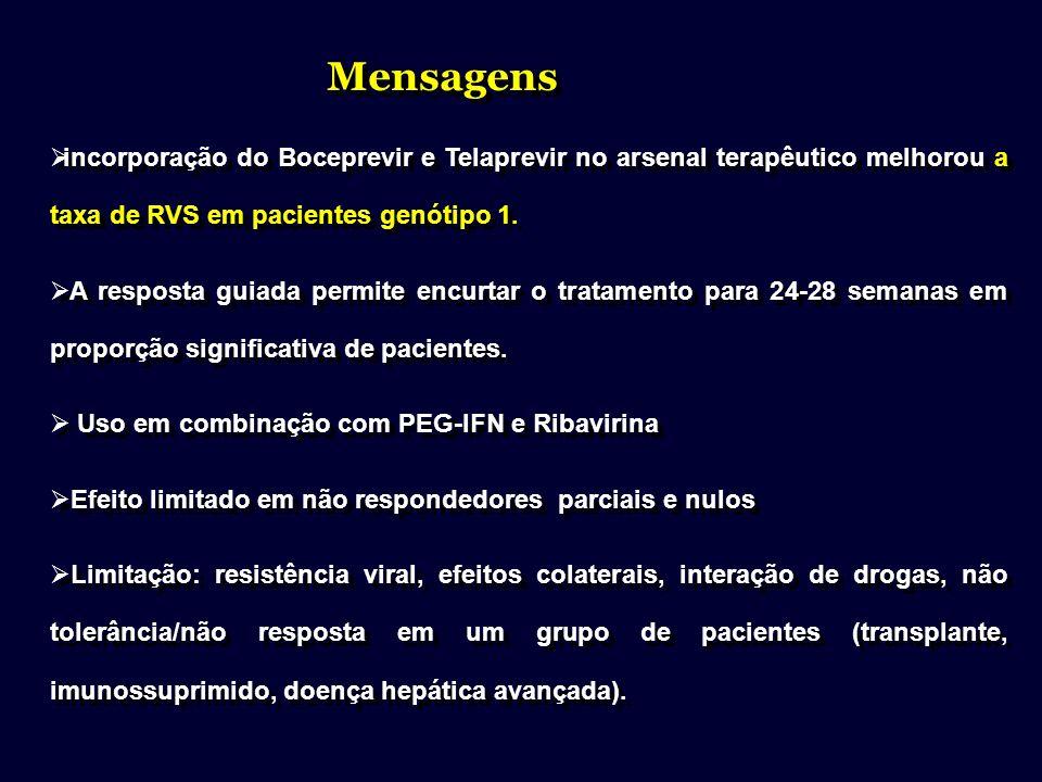 incorporação do Boceprevir e Telaprevir no arsenal terapêutico melhorou a taxa de RVS em pacientes genótipo 1. A resposta guiada permite encurtar o tr