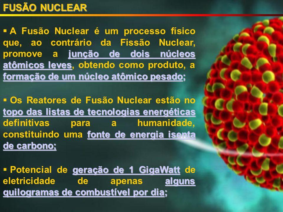 FUSÃO NUCLEAR junção de dois núcleos atômicos leves formação de um núcleo atômico pesado; A Fusão Nuclear é um processo físico que, ao contrário da Fissão Nuclear, promove a junção de dois núcleos atômicos leves, obtendo como produto, a formação de um núcleo atômico pesado; topo das listas de tecnologias energéticas fonte de energia isenta de carbono; Os Reatores de Fusão Nuclear estão no topo das listas de tecnologias energéticas definitivas para a humanidade, constituindo uma fonte de energia isenta de carbono; geração de 1 GigaWatt alguns quilogramas de combustível por dia; Potencial de geração de 1 GigaWatt de eletricidade de apenas alguns quilogramas de combustível por dia;