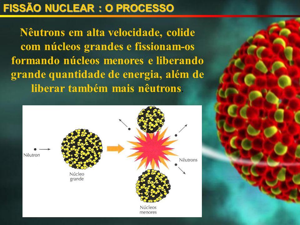 FISSÃO NUCLEAR : O PROCESSO Nêutrons em alta velocidade, colide com núcleos grandes e fissionam-os formando núcleos menores e liberando grande quantidade de energia, além de liberar também mais nêutrons.