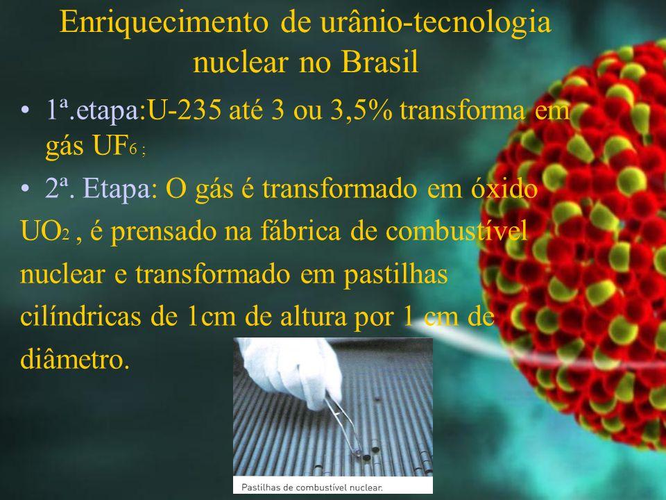 Enriquecimento de urânio-tecnologia nuclear no Brasil 1ª.etapa:U-235 até 3 ou 3,5% transforma em gás UF 6 ; 2ª.