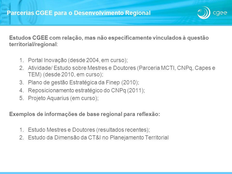 Estudos CGEE com relação, mas não especificamente vinculados à questão territorial/regional: 1.Portal Inovação (desde 2004, em curso); 2.Atividade/ Es