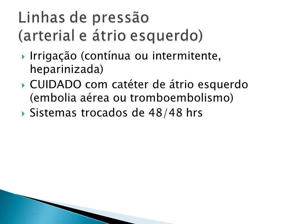 Irrigação (contínua ou intermitente, heparinizada) CUIDADO com catéter de átrio esquerdo (embolia aérea ou tromboembolismo) Sistemas trocados de 48/48