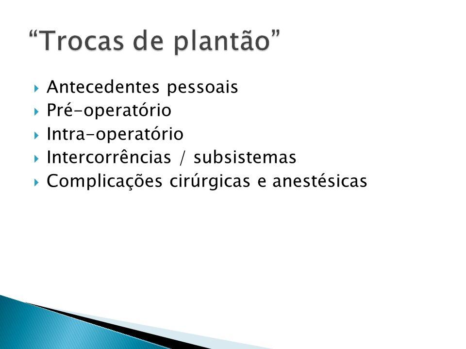 Antecedentes pessoais Pré-operatório Intra-operatório Intercorrências / subsistemas Complicações cirúrgicas e anestésicas