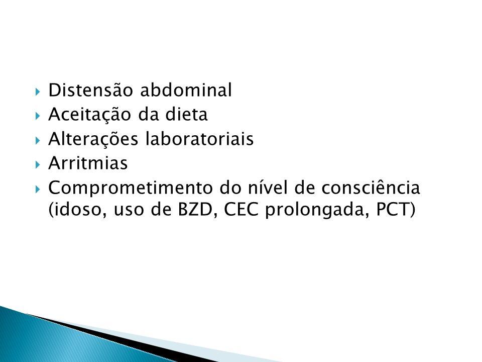 Distensão abdominal Aceitação da dieta Alterações laboratoriais Arritmias Comprometimento do nível de consciência (idoso, uso de BZD, CEC prolongada,