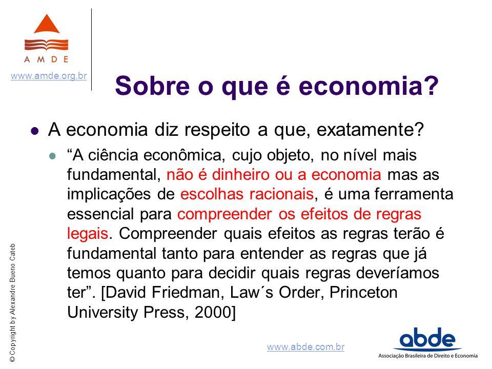 © Copyright by Alexandre Bueno Cateb www.amde.org.br www.abde.com.br Sobre o que é economia? A economia diz respeito a que, exatamente? A ciência econ