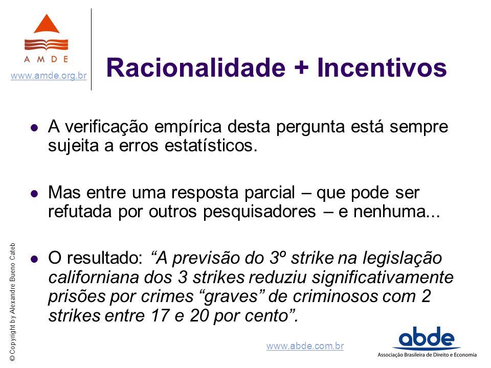 © Copyright by Alexandre Bueno Cateb www.amde.org.br www.abde.com.br Racionalidade + Incentivos A verificação empírica desta pergunta está sempre suje