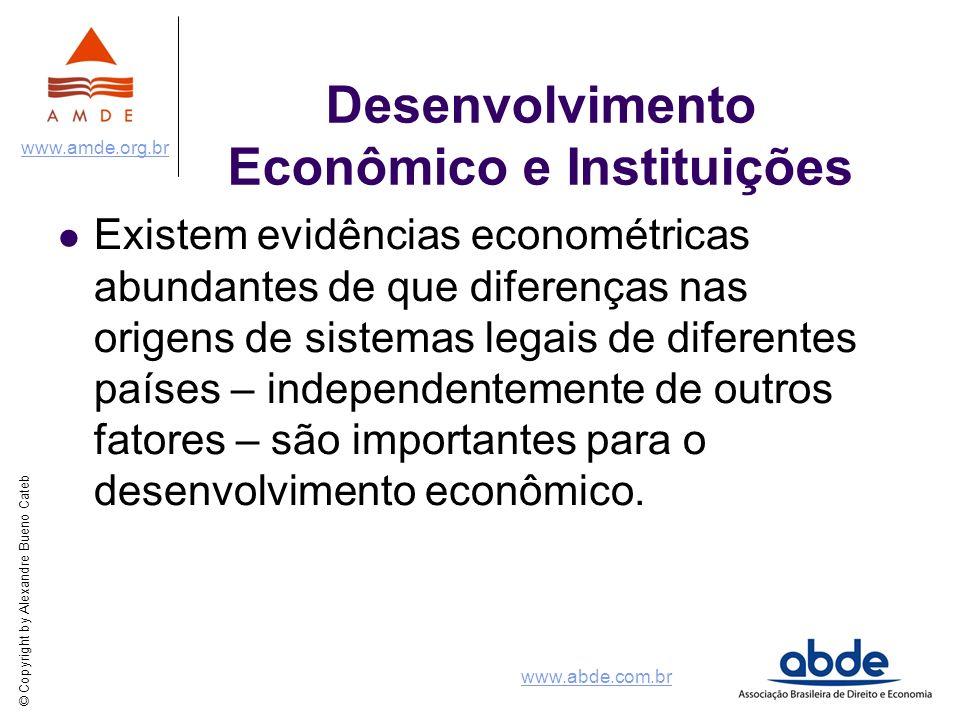 © Copyright by Alexandre Bueno Cateb www.amde.org.br www.abde.com.br Desenvolvimento Econômico e Instituições Existem evidências econométricas abundan