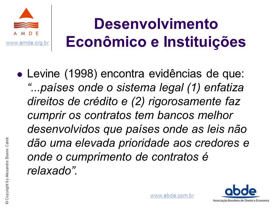 © Copyright by Alexandre Bueno Cateb www.amde.org.br www.abde.com.br Desenvolvimento Econômico e Instituições Levine (1998) encontra evidências de que