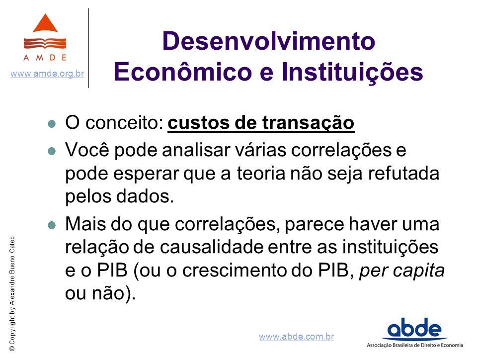 © Copyright by Alexandre Bueno Cateb www.amde.org.br www.abde.com.br Desenvolvimento Econômico e Instituições O conceito: custos de transação Você pod