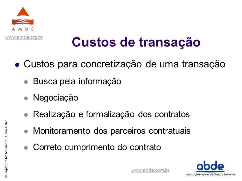 © Copyright by Alexandre Bueno Cateb www.amde.org.br www.abde.com.br Custos de transação Custos para concretização de uma transação Busca pela informa
