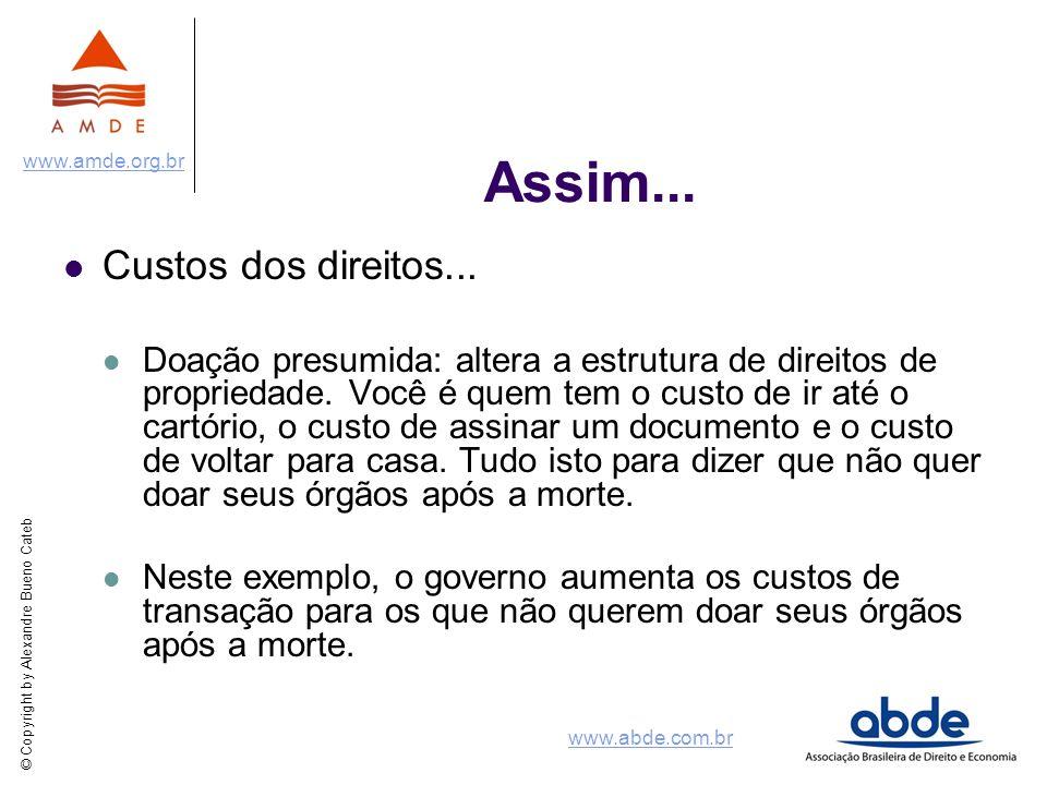 © Copyright by Alexandre Bueno Cateb www.amde.org.br www.abde.com.br Assim... Custos dos direitos... Doação presumida: altera a estrutura de direitos