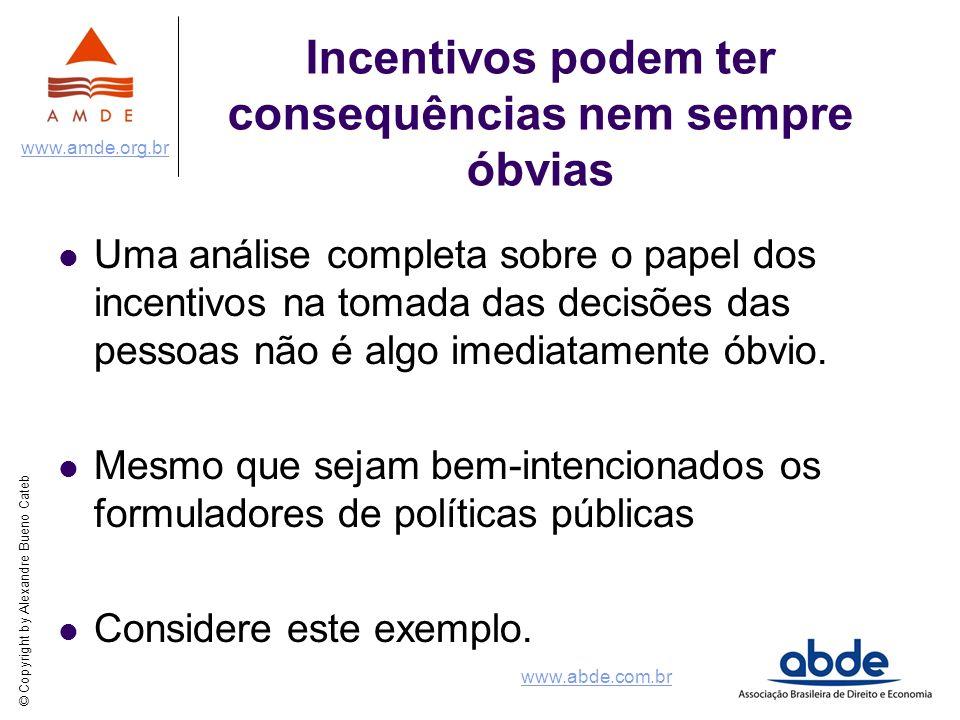 © Copyright by Alexandre Bueno Cateb www.amde.org.br www.abde.com.br Incentivos podem ter consequências nem sempre óbvias Uma análise completa sobre o