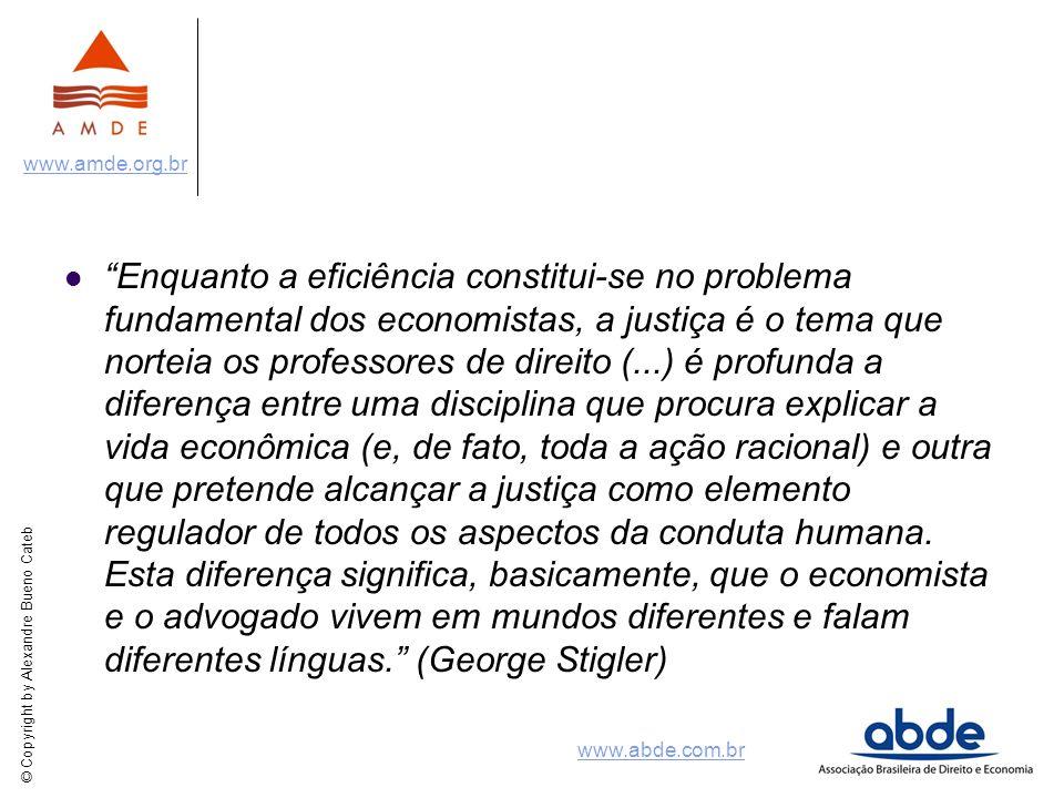 © Copyright by Alexandre Bueno Cateb www.amde.org.br www.abde.com.br Racionalidade + Incentivos Exemplo: Helland & Tabarrok (w.p.) analisaram o efeito da lei californiana de 1994 conhecida como three strikes and you´re out.