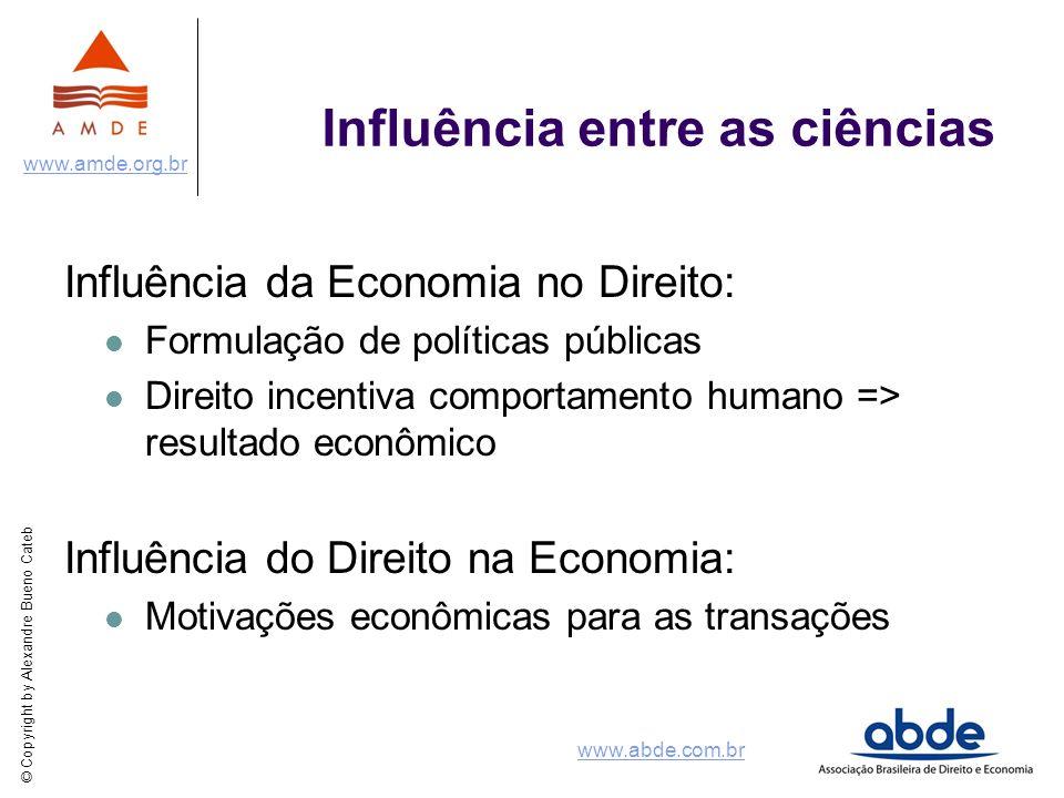 © Copyright by Alexandre Bueno Cateb www.amde.org.br www.abde.com.br Influência entre as ciências Influência da Economia no Direito: Formulação de pol