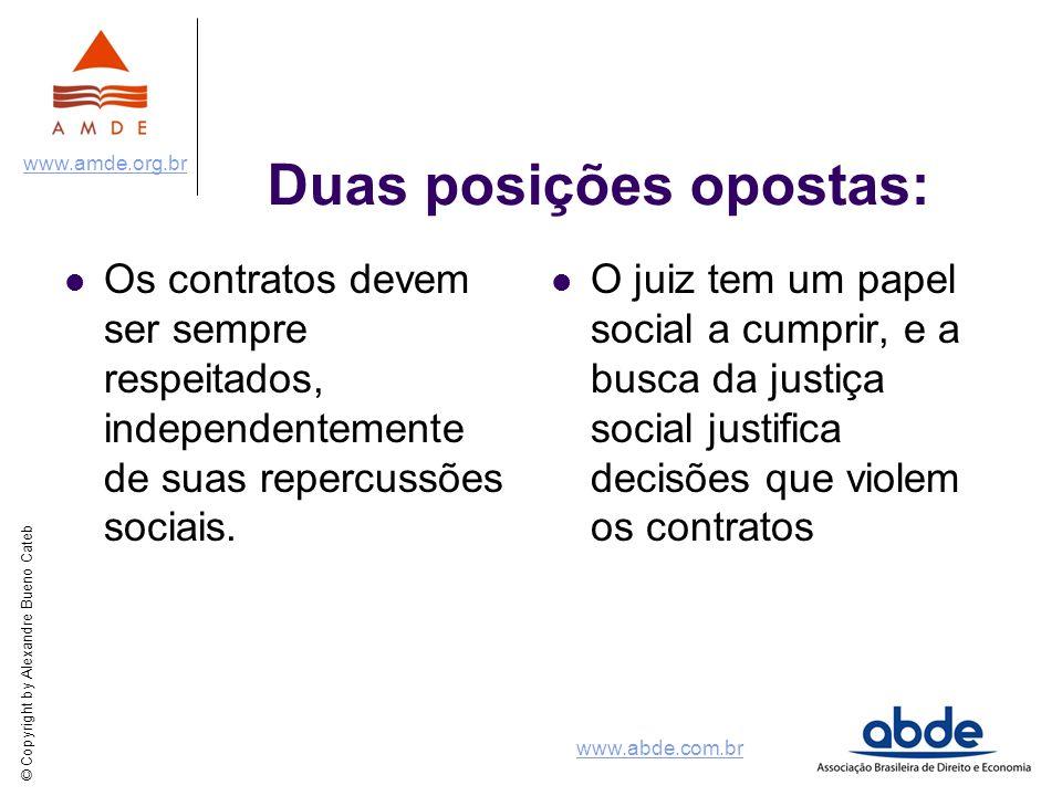 © Copyright by Alexandre Bueno Cateb www.amde.org.br www.abde.com.br Duas posições opostas: Os contratos devem ser sempre respeitados, independentemen