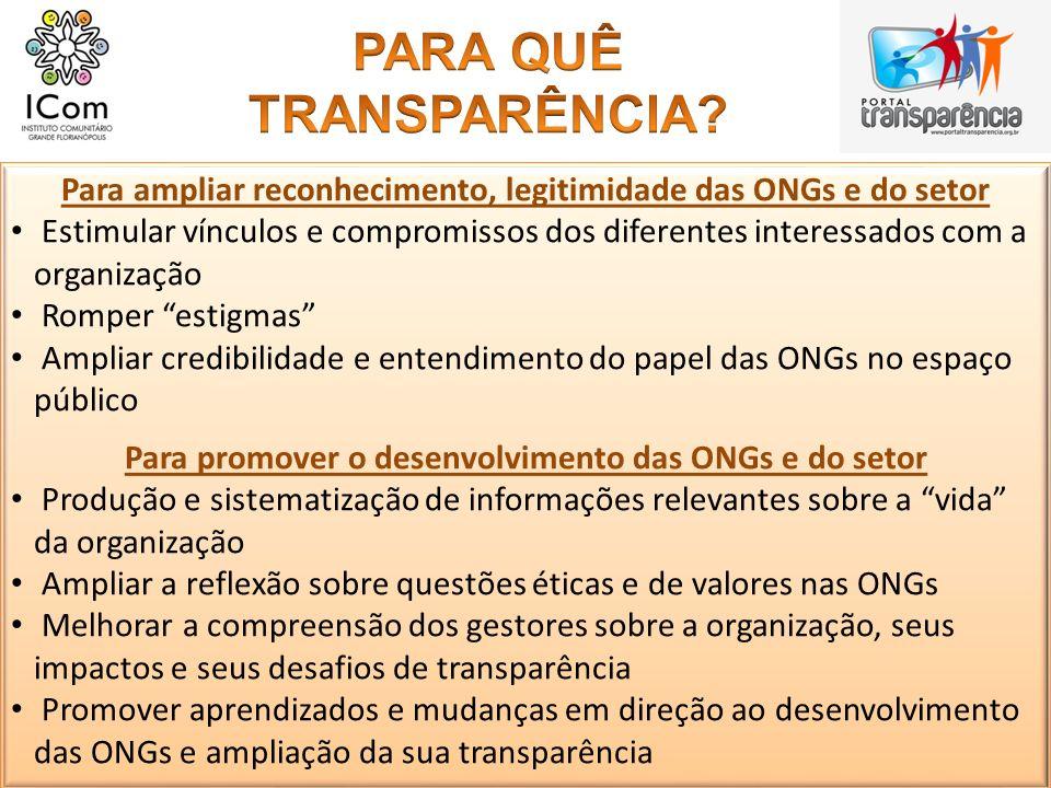 Para ampliar reconhecimento, legitimidade das ONGs e do setor Estimular vínculos e compromissos dos diferentes interessados com a organização Romper e