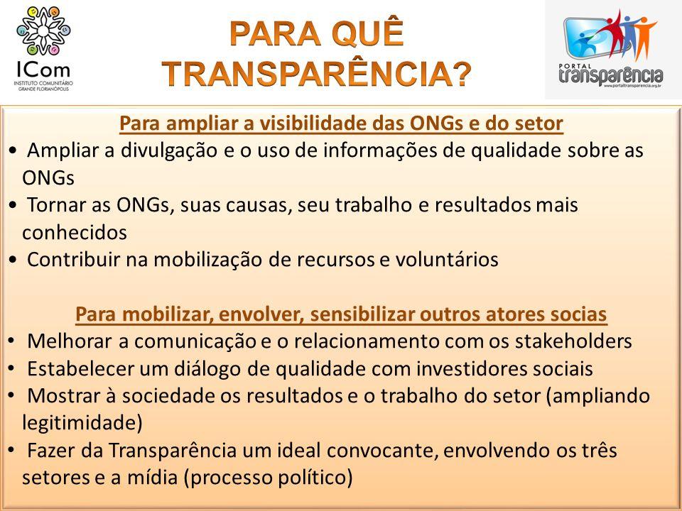 Para ampliar a visibilidade das ONGs e do setor Ampliar a divulgação e o uso de informações de qualidade sobre as ONGs Tornar as ONGs, suas causas, se