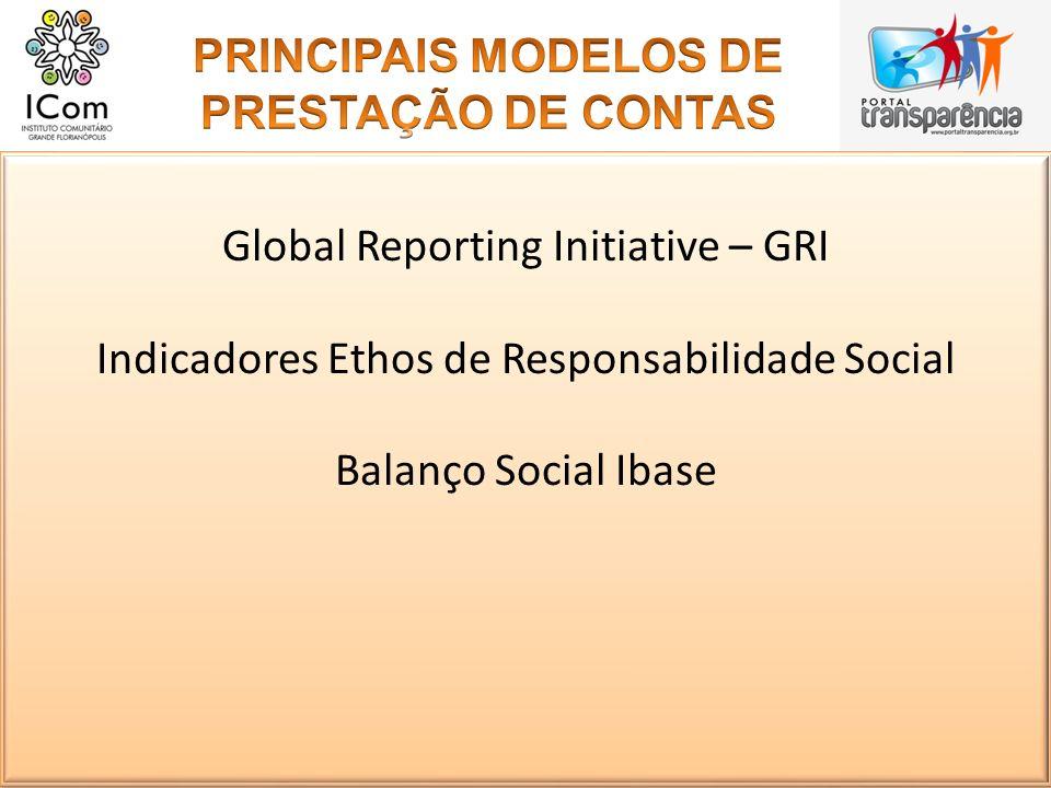Global Reporting Initiative – GRI Indicadores Ethos de Responsabilidade Social Balanço Social Ibase Global Reporting Initiative – GRI Indicadores Etho