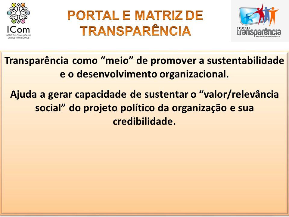 Transparência como meio de promover a sustentabilidade e o desenvolvimento organizacional. Ajuda a gerar capacidade de sustentar o valor/relevância so
