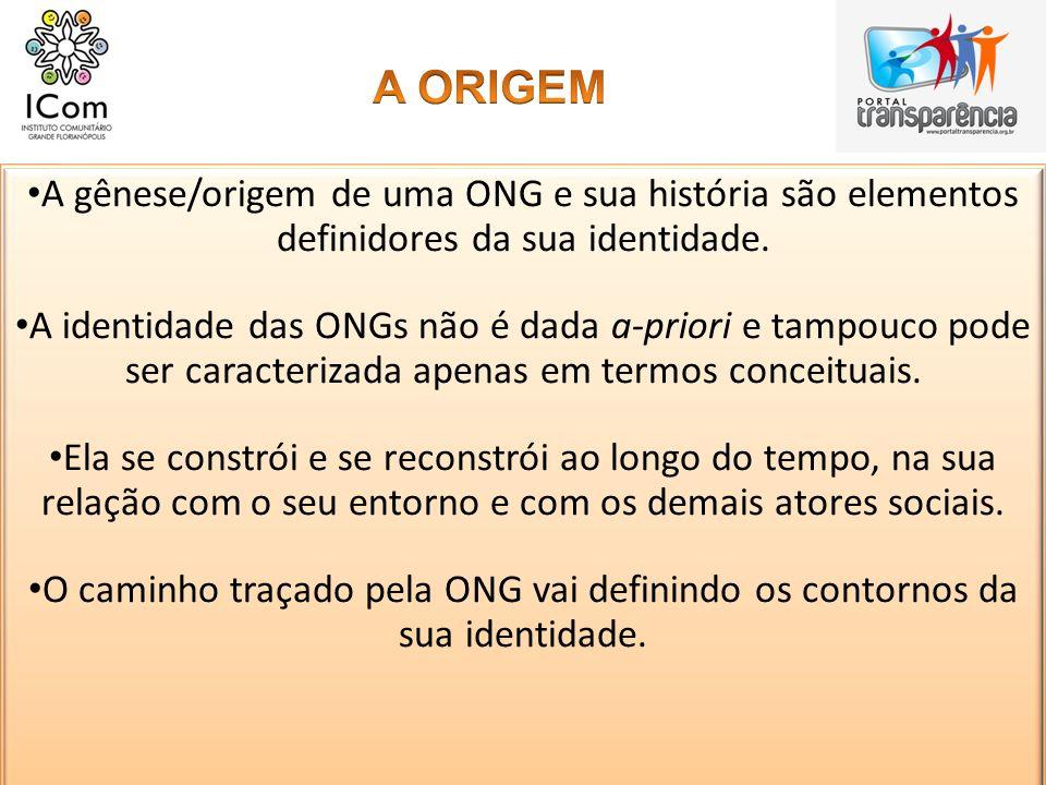 A gênese/origem de uma ONG e sua história são elementos definidores da sua identidade. A identidade das ONGs não é dada a-priori e tampouco pode ser c