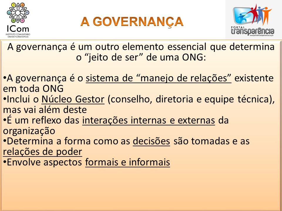 A governança é um outro elemento essencial que determina o jeito de ser de uma ONG: A governança é o sistema de manejo de relações existente em toda O