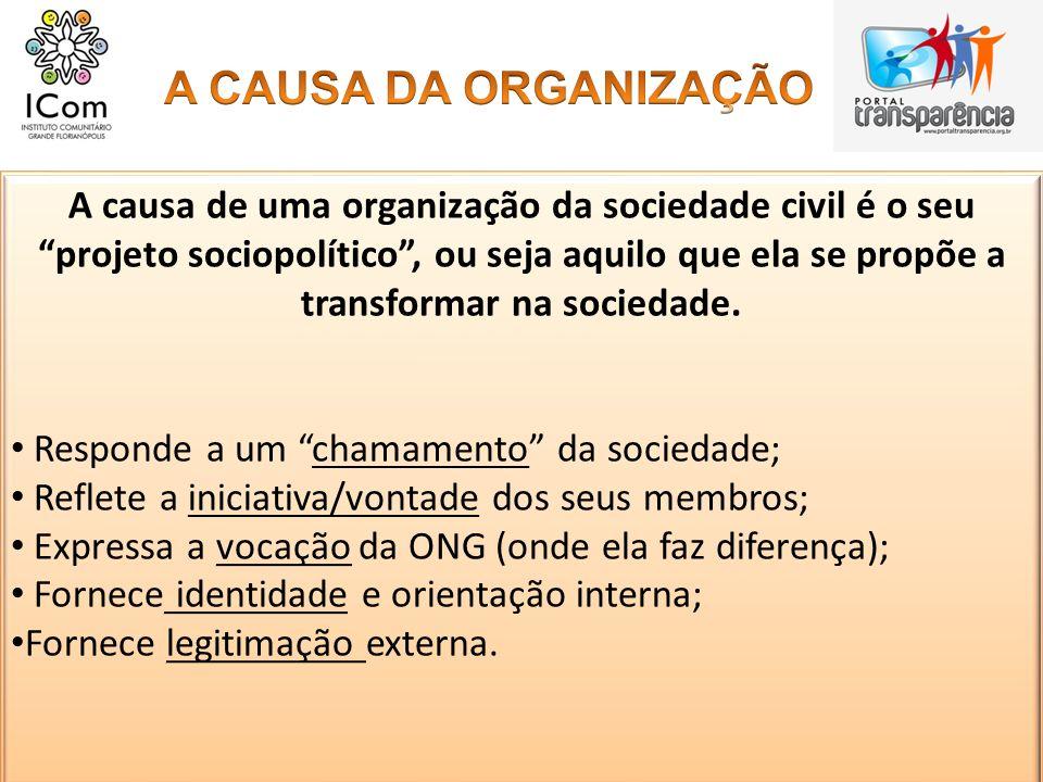 A causa de uma organização da sociedade civil é o seu projeto sociopolítico, ou seja aquilo que ela se propõe a transformar na sociedade. Responde a u