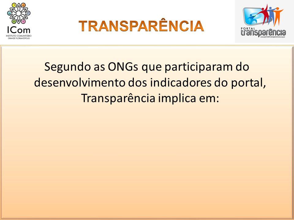 Segundo as ONGs que participaram do desenvolvimento dos indicadores do portal, Transparência implica em: