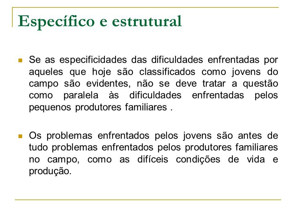Específico e estrutural Se as especificidades das dificuldades enfrentadas por aqueles que hoje são classificados como jovens do campo são evidentes,
