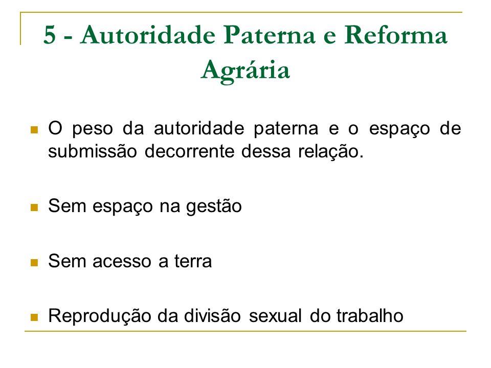 5 - Autoridade Paterna e Reforma Agrária O peso da autoridade paterna e o espaço de submissão decorrente dessa relação. Sem espaço na gestão Sem acess