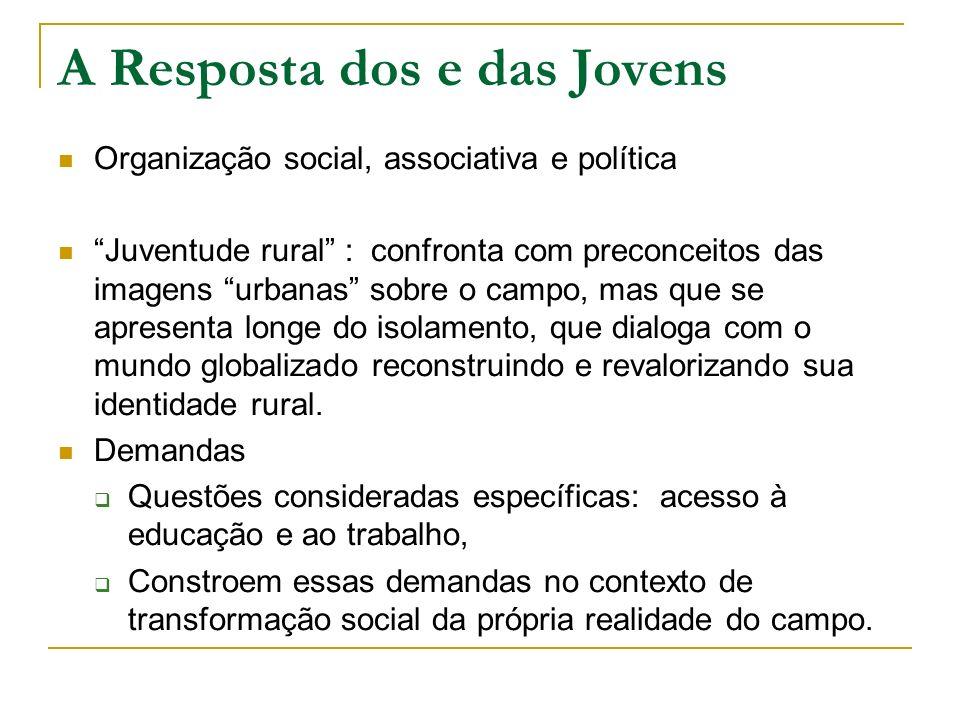 A Resposta dos e das Jovens Organização social, associativa e política Juventude rural : confronta com preconceitos das imagens urbanas sobre o campo,