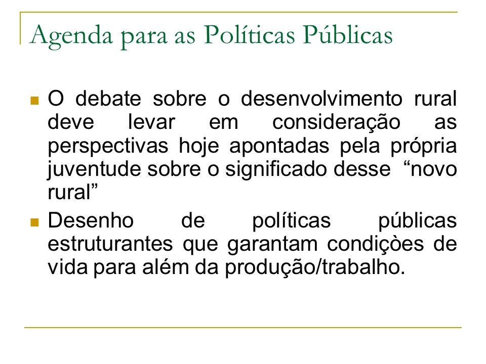 Agenda para as Políticas Públicas O debate sobre o desenvolvimento rural deve levar em consideração as perspectivas hoje apontadas pela própria juvent