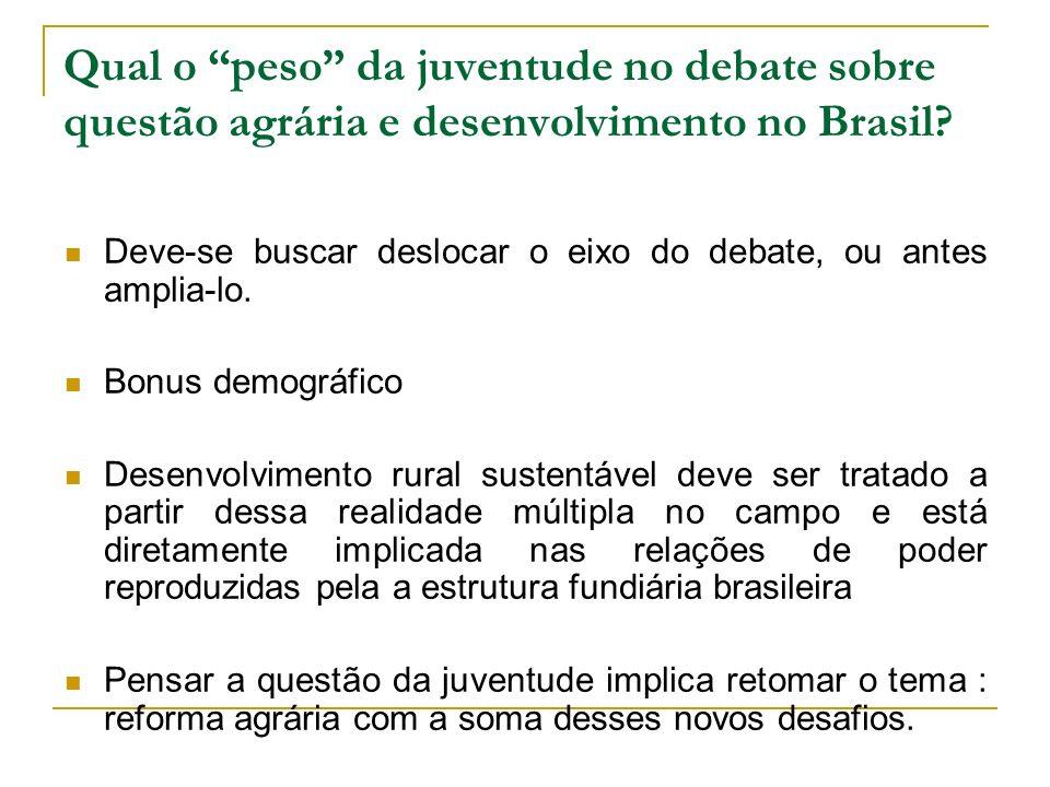 Qual o peso da juventude no debate sobre questão agrária e desenvolvimento no Brasil? Deve-se buscar deslocar o eixo do debate, ou antes amplia-lo. Bo