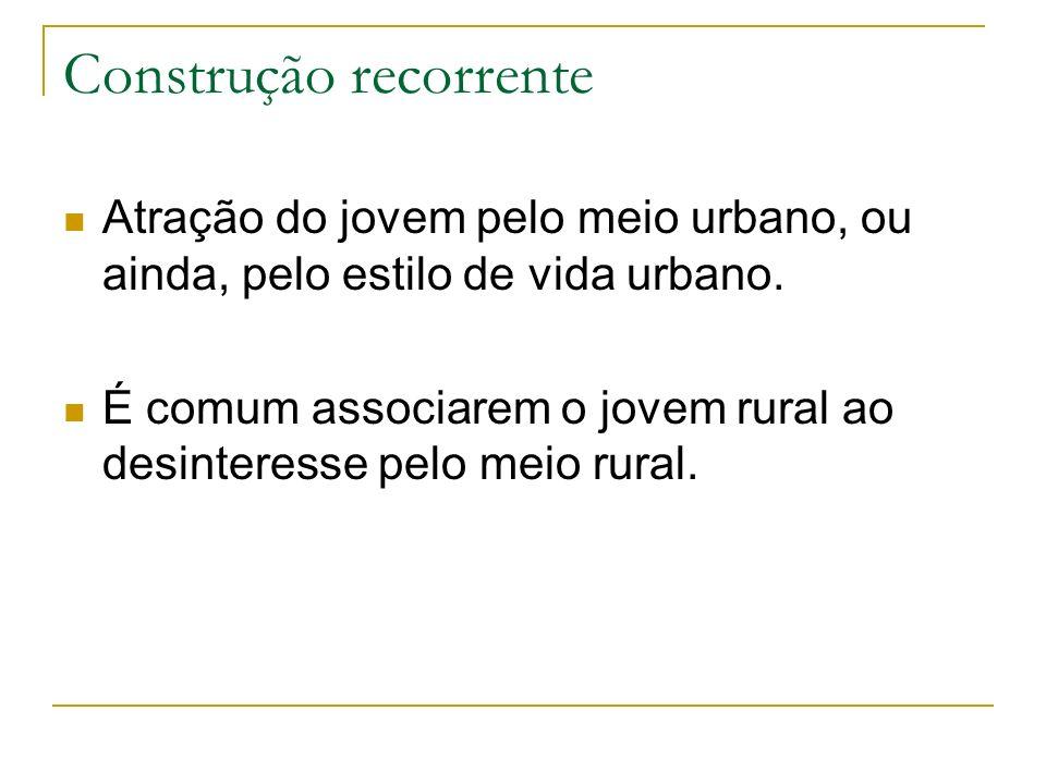 Construção recorrente Atração do jovem pelo meio urbano, ou ainda, pelo estilo de vida urbano. É comum associarem o jovem rural ao desinteresse pelo m