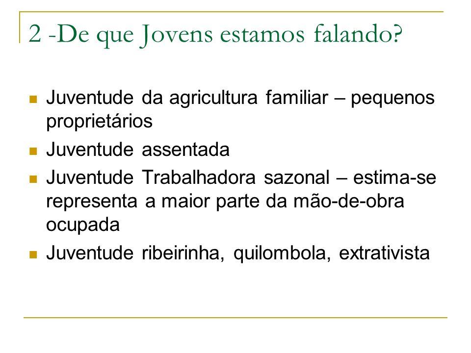 2 -De que Jovens estamos falando? Juventude da agricultura familiar – pequenos proprietários Juventude assentada Juventude Trabalhadora sazonal – esti