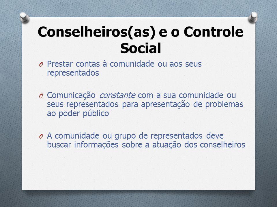 Conselheiros(as) e o Controle Social O Prestar contas à comunidade ou aos seus representados O Comunicação constante com a sua comunidade ou seus repr