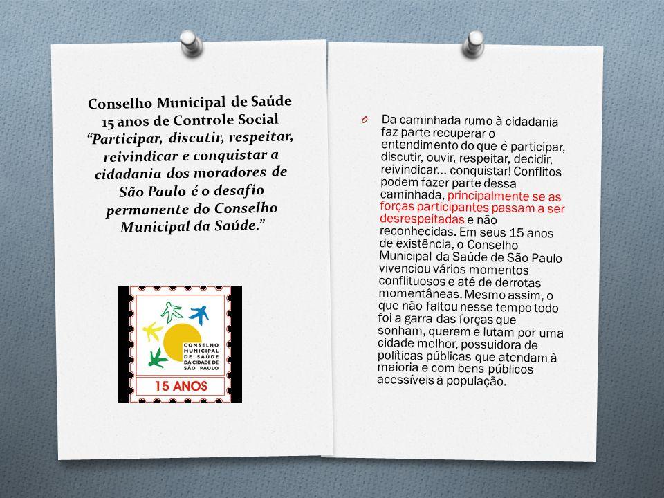 Conselho Municipal de Saúde 15 anos de Controle Social Participar, discutir, respeitar, reivindicar e conquistar a cidadania dos moradores de São Paul