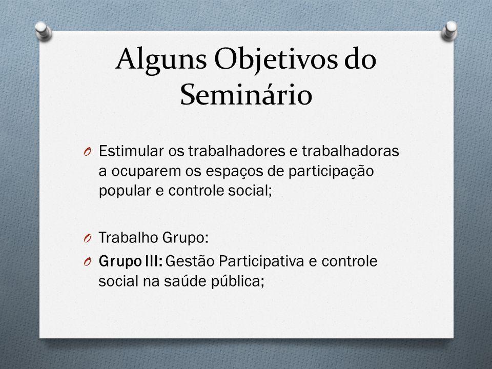 Alguns Objetivos do Seminário O Estimular os trabalhadores e trabalhadoras a ocuparem os espaços de participação popular e controle social; O Trabalho