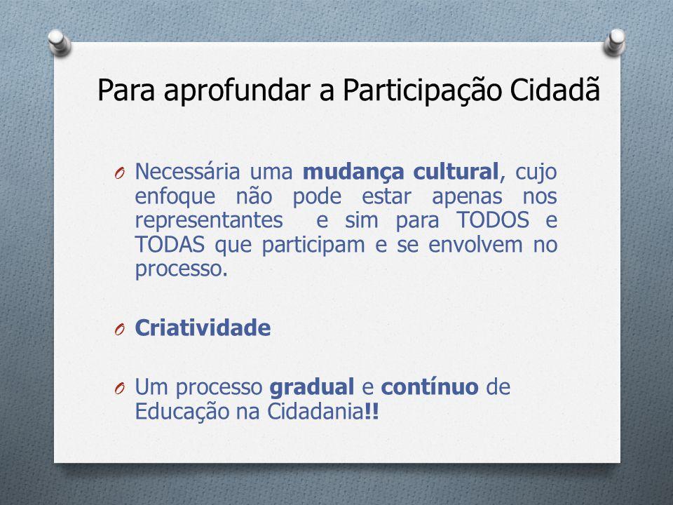 Para aprofundar a Participação Cidadã O Necessária uma mudança cultural, cujo enfoque não pode estar apenas nos representantes e sim para TODOS e TODA
