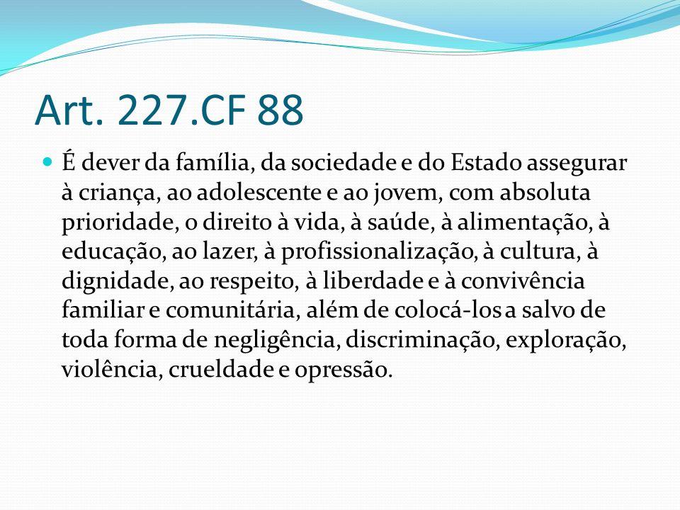 Art. 227.CF 88 É dever da família, da sociedade e do Estado assegurar à criança, ao adolescente e ao jovem, com absoluta prioridade, o direito à vida,