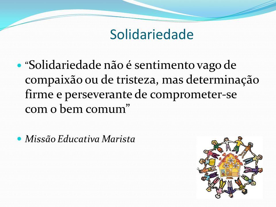 Solidariedade Solidariedade não é sentimento vago de compaixão ou de tristeza, mas determinação firme e perseverante de comprometer-se com o bem comum