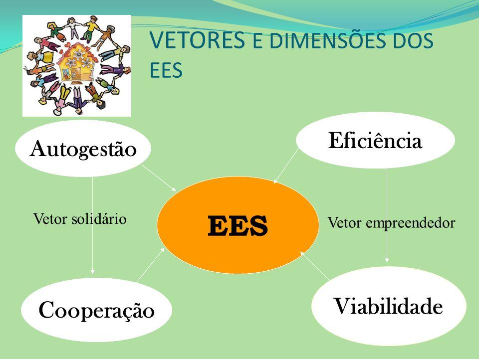 VETORES E DIMENSÕES DOS EES EES Eficiência Viabilidade Autogestão Cooperação Vetor solidário Vetor empreendedor