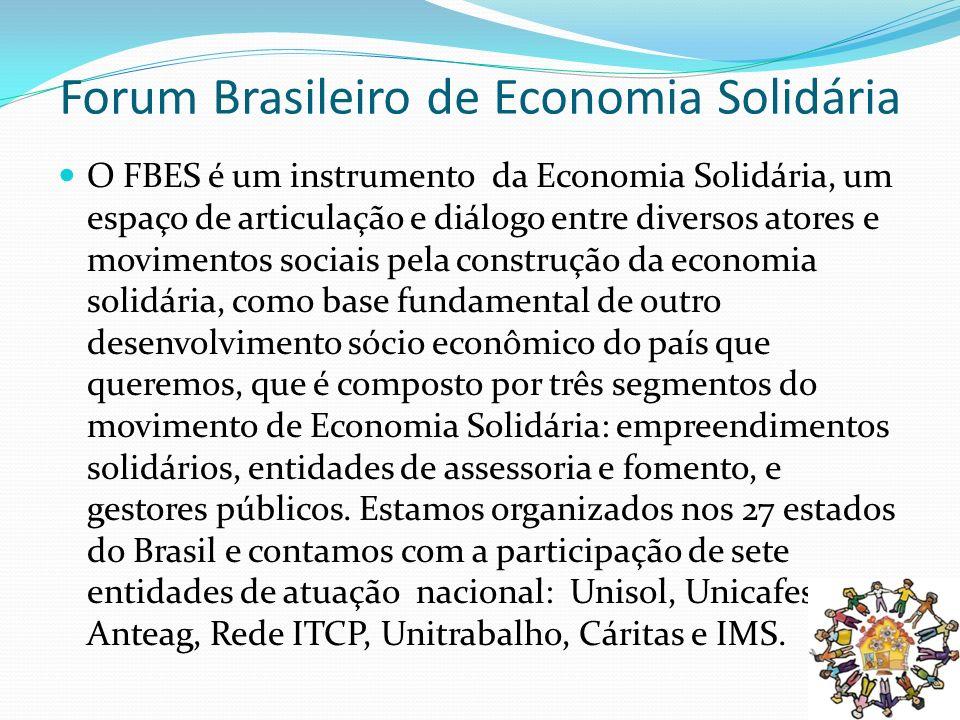 Forum Brasileiro de Economia Solidária O FBES é um instrumento da Economia Solidária, um espaço de articulação e diálogo entre diversos atores e movim