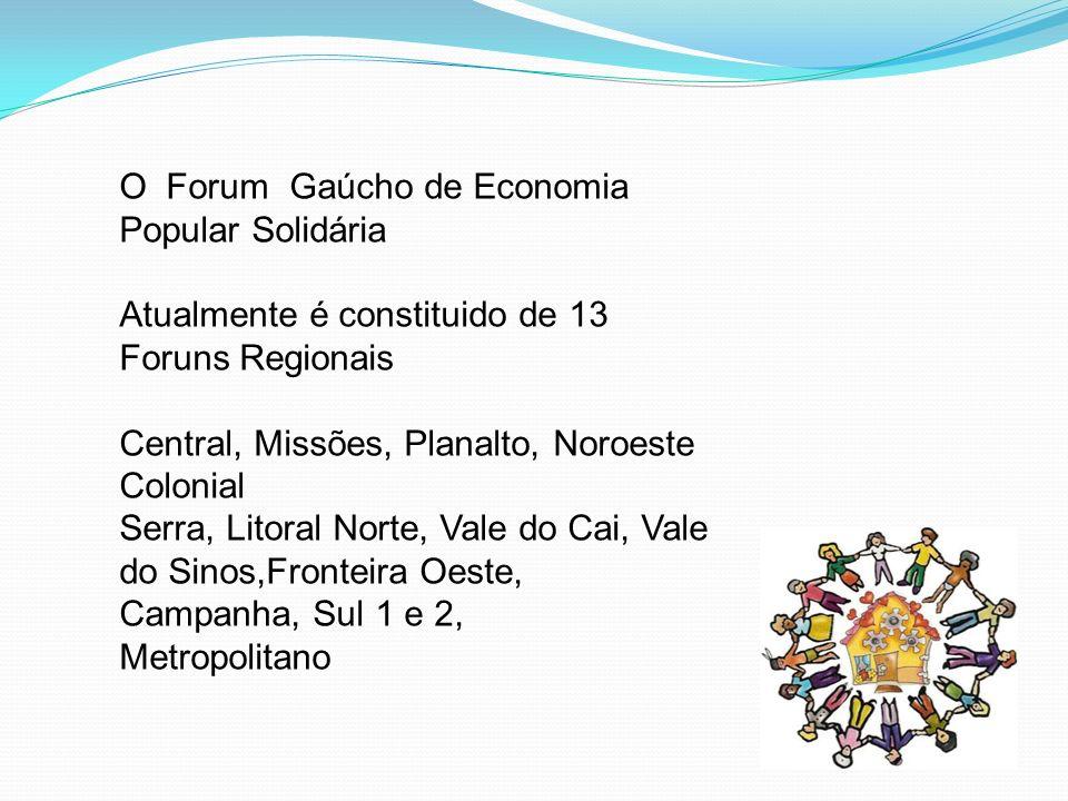O Forum Gaúcho de Economia Popular Solidária Atualmente é constituido de 13 Foruns Regionais Central, Missões, Planalto, Noroeste Colonial Serra, Lito