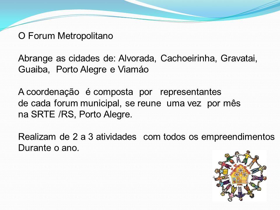 O Forum Metropolitano Abrange as cidades de: Alvorada, Cachoeirinha, Gravatai, Guaiba, Porto Alegre e Viamáo A coordenação é composta por representant