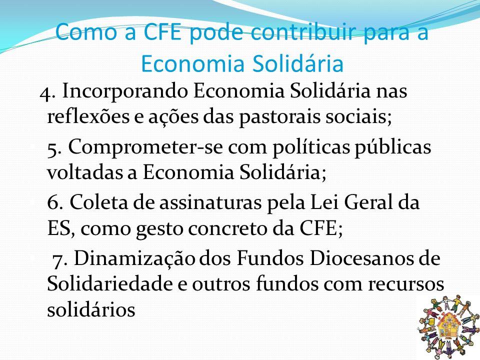 Como a CFE pode contribuir para a Economia Solidária 4. Incorporando Economia Solidária nas reflexões e ações das pastorais sociais; 5. Comprometer-se