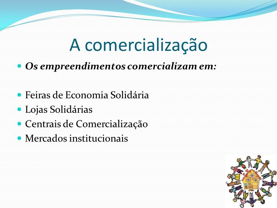 A comercialização Os empreendimentos comercializam em: Feiras de Economia Solidária Lojas Solidárias Centrais de Comercialização Mercados instituciona