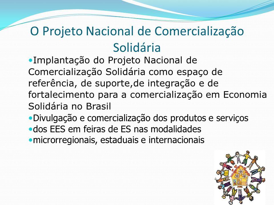 O Projeto Nacional de Comercialização Solidária Implantação do Projeto Nacional de Comercialização Solidária como espaço de referência, de suporte,de